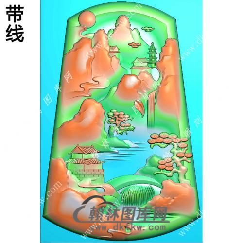 玉雕梯形山水挂件带线精雕图(SSG-415)