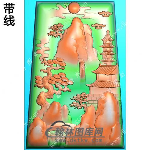 玉雕梯形山水挂件带线精雕图(SSG-417)