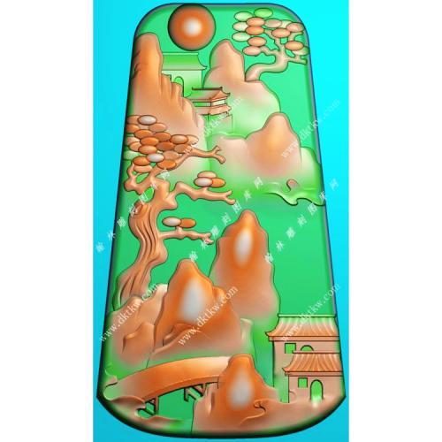 玉雕梯形山水挂件带线精雕图(SSG-481)