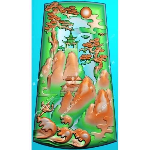 玉雕梯形山水挂件带线精雕图(SSG-484)