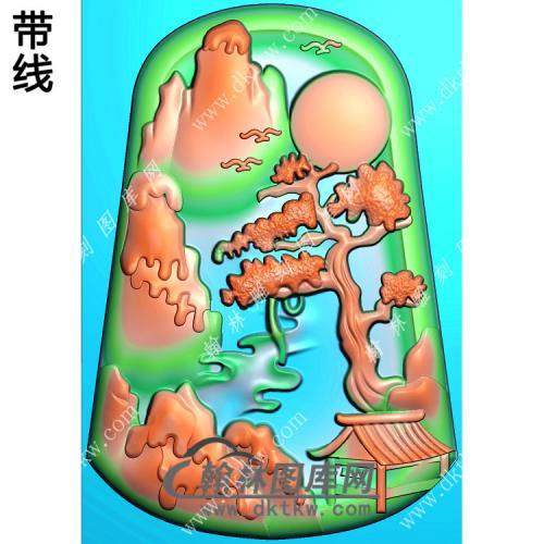 玉雕梯形山水牌挂件带线精雕图(SSG-311)