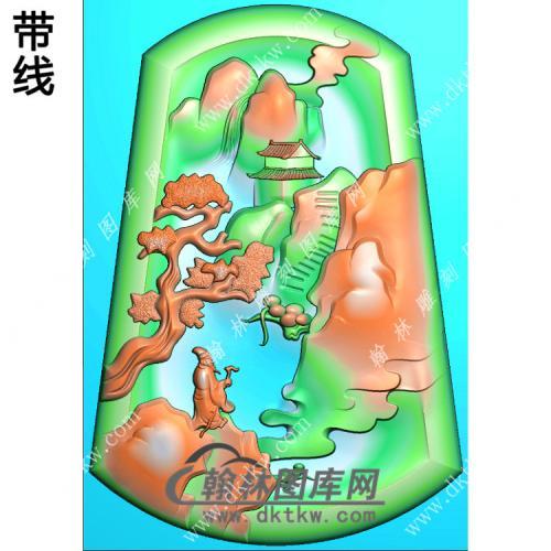 玉雕梯形山水人物挂件带线精雕图(SSG-405)