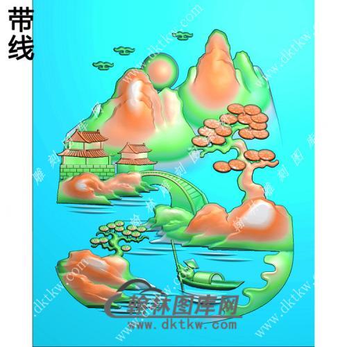 玉雕梯形山水人物挂件带线精雕图(SSG-408)