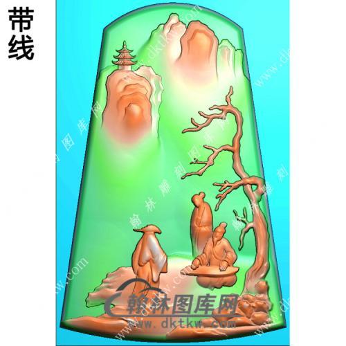 玉雕梯形山水人物挂件带线精雕图(SSG-425)