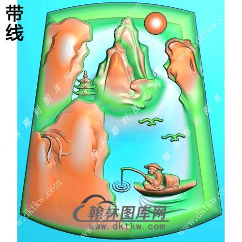 玉雕梯形山水人物挂件带线精雕图(SSG-470)