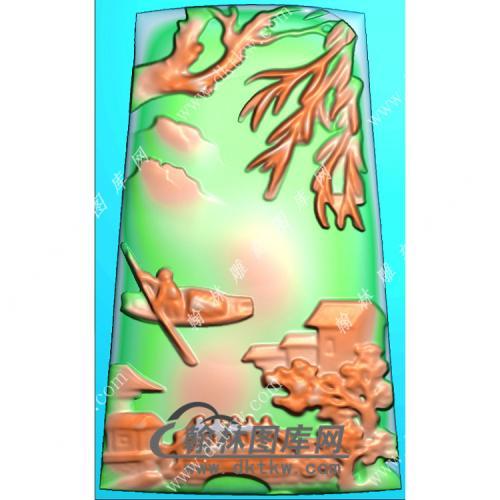 玉雕梯形山水人物划船挂件精雕图(SSG-429)