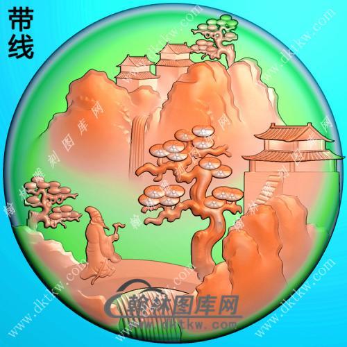 玉雕圆形山水人物挂件带线精雕图(SSG-327)