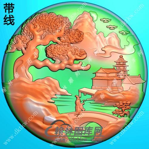 玉雕圆形山水人物挂件带线精雕图(SSG-330)