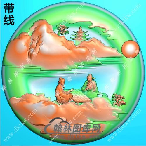 玉雕圆形山水人物挂件带线精雕图(SSG-391)