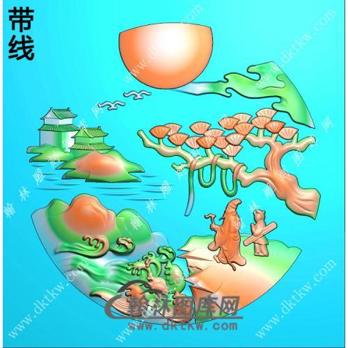 玉雕圆形山水人物挂件带线精雕图(SSG-400)