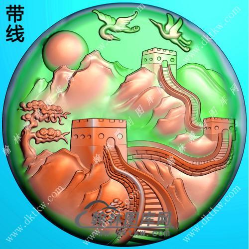 圆形山水长城挂件带线精雕图(SSG-350)