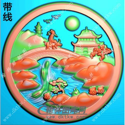 圆形山水人物挂件精雕图(SSG-349)