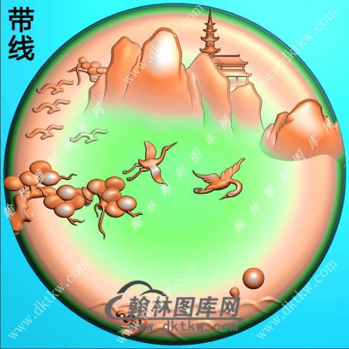 圆形松鹤宝塔山水挂件带线精雕图(SSG-384)