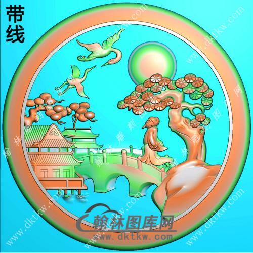 圆形松鹤小桥山水人物挂件带线精雕图(SSG-351)