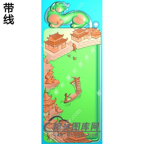 貔貅牌头江南山水人物挂件带线精雕图(SSG-287)