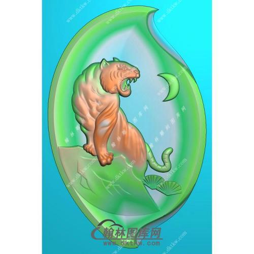 树叶形老虎挂件精雕图(GH-102)