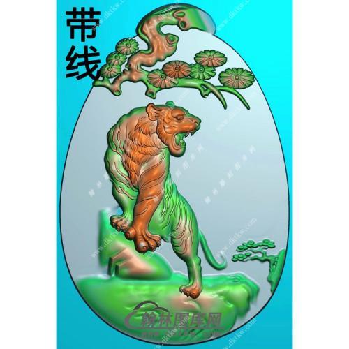 椭圆松树牌头生肖虎挂件精雕图(GH-116)