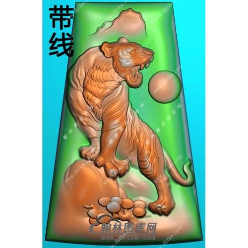 玉雕梯形上山老虎挂件带线精雕图(GH-123)