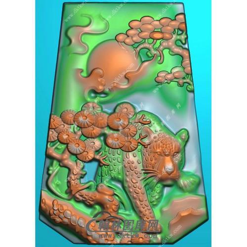 玉雕梯形松树老虎挂件精雕图(GH-124)
