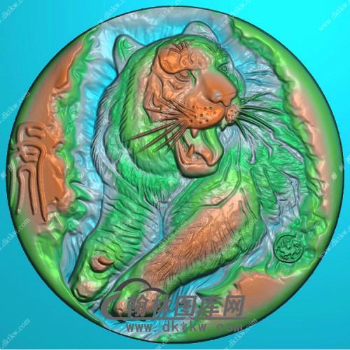 玉雕圆形老虎挂件精雕图(GH-121)