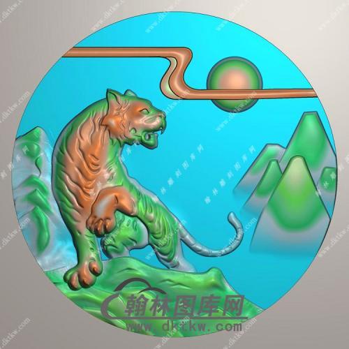 圆形老虎挂件精雕图(GH-098)