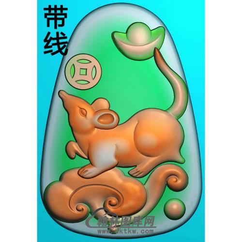 铜钱如意灵芝元宝老鼠挂件带线精雕图(GS-052)