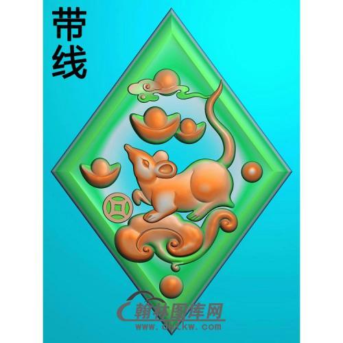铜钱如意元宝老鼠挂件带线精雕图(GS-055)