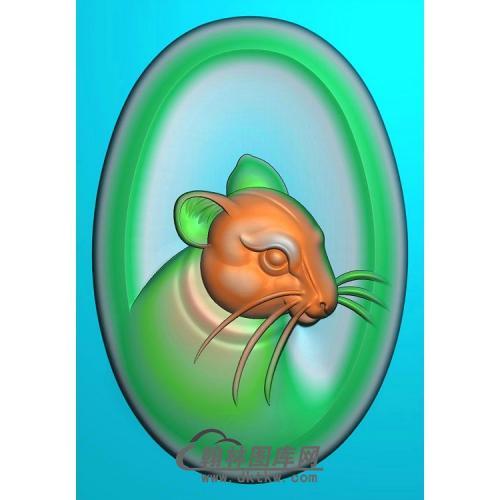 椭圆老鼠头挂件精雕图(GS-011)