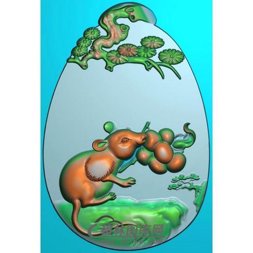 椭圆松树牌头生肖鼠挂件精雕图(GS-032)