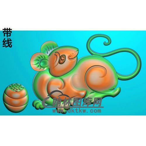 玉雕老鼠挂件带线精雕图(GS-050)