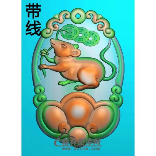 玉雕生肖老鼠挂件带线精雕图(GS-047)