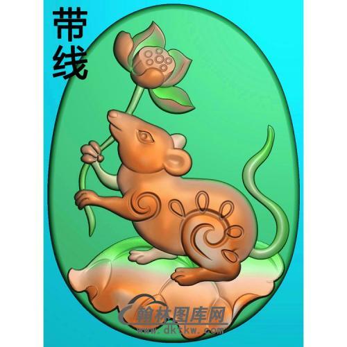玉雕椭圆莲花老鼠挂件带线精雕图(GS-054)