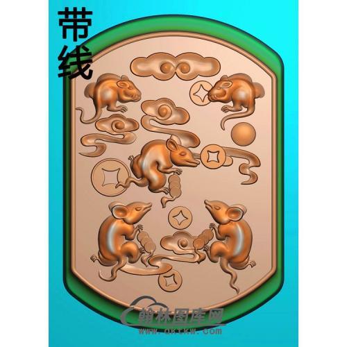 玉雕五鼠运财挂件带线精雕图(GS-028)