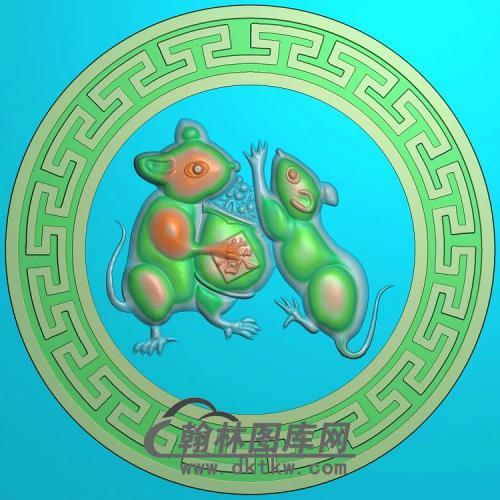 玉雕圆形生肖老鼠挂件精雕图(GS-045)