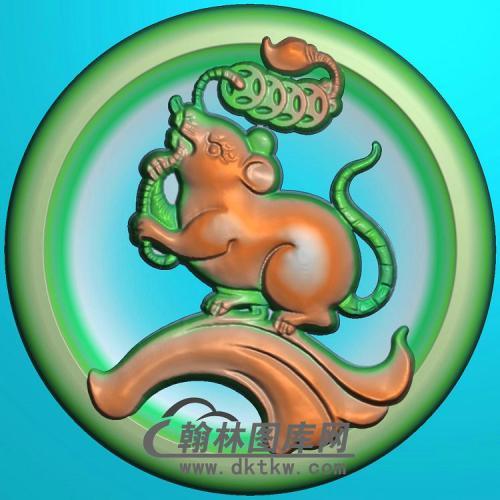 圆形凹底生肖鼠挂件精雕图(GS-027)