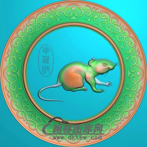 圆形老鼠挂件精雕图(GS-007)