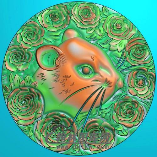 圆形老鼠头挂件精雕图(GS-029)