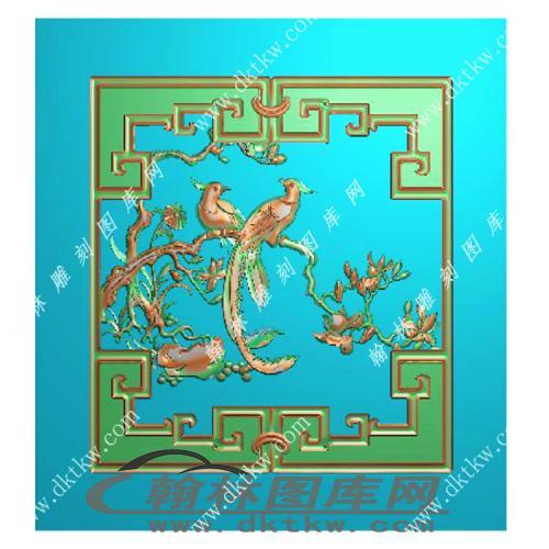 顶箱柜鸟小门有框精雕图(MM-036)