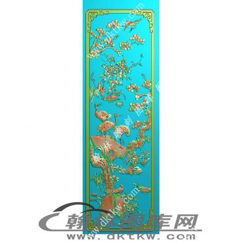 花鸟顶箱柜门板精雕图(MM-041)