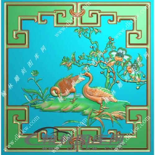 花鸟顶箱柜上精雕图(MM-029)