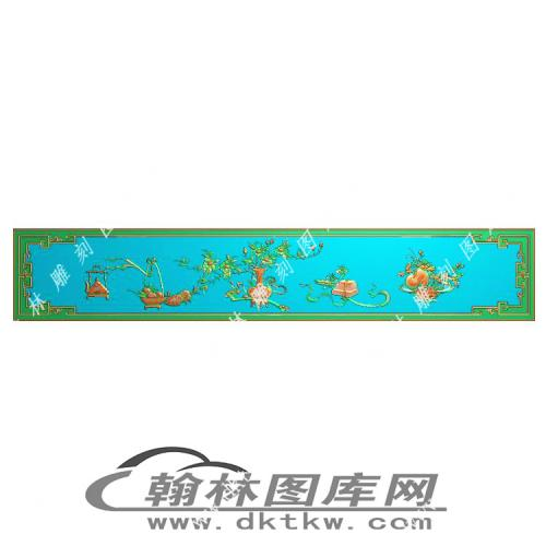 花鸟顶箱柜下肚板精雕图(MM-044)