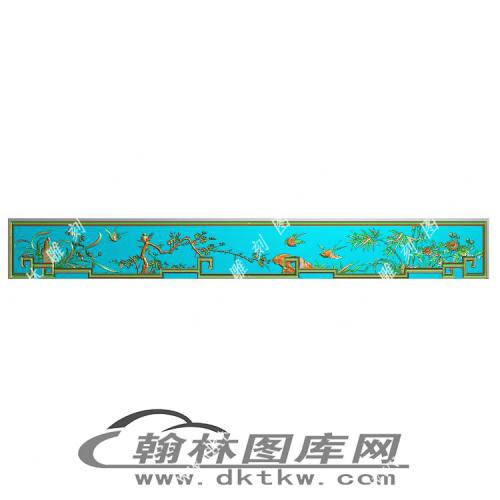 花鸟顶箱柜牙板精雕图(MM-030)