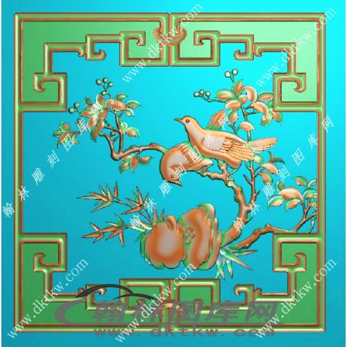 花鸟顶箱有框精雕图(MM-032)