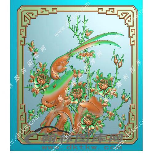 路西花鸟顶箱柜小门精雕图(MM-046)