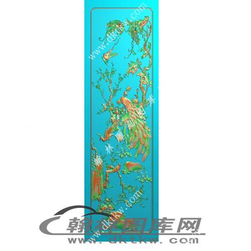 花鸟顶箱柜门板精雕图(MM-043)