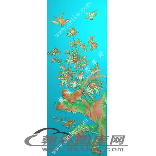 大门板(牡丹)精雕图(MM-001)