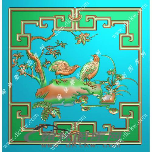 花鸟顶箱鹌鹑小门精雕图(MM-025)
