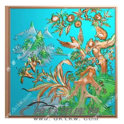 花鸟顶箱柜精雕图(MM-023)