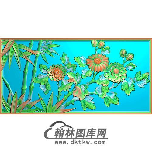 菊花竹子无线碑板精雕图(MBBB-1595)