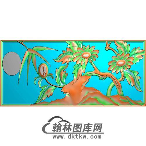 菊花无线碑板精雕图(MBBB-1598)